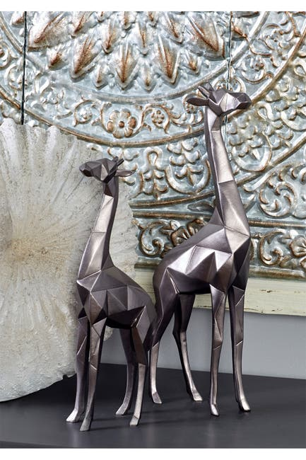 Image of CosmoLiving by Cosmopolitan Large Modern Style Metallic Silver Giraffe Statue - Set of 2