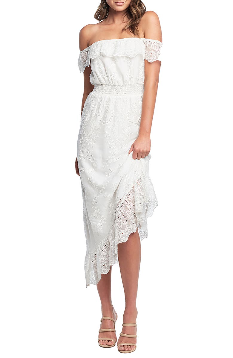 BARDOT Embroidered Off the Shoulder Midi Dress, Main, color, 901
