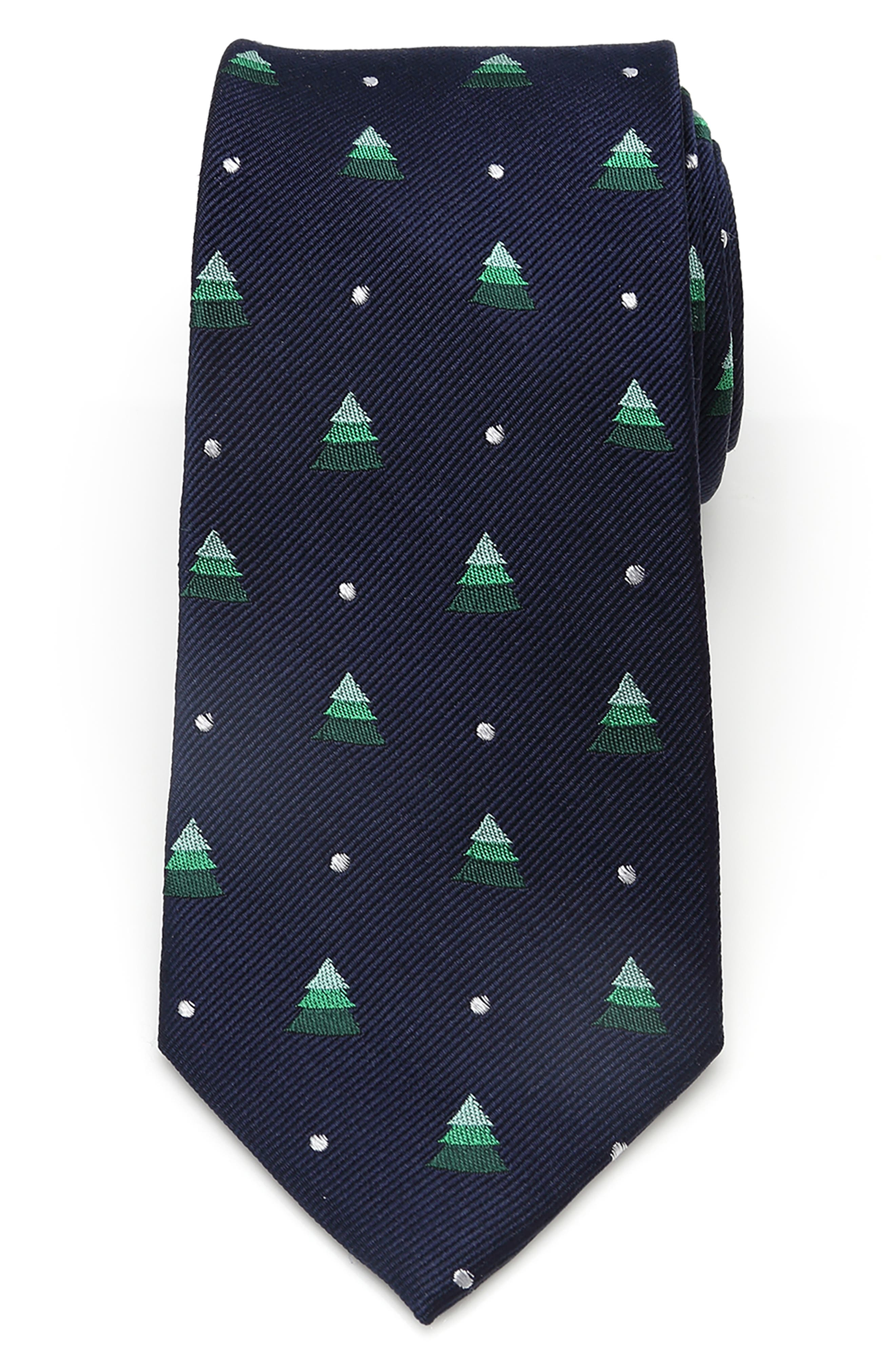 A fun holiday print touches up a charming tie cut from pure silk. Style Name: Cufflinks, Inc. Holiday Tree Silk Tie. Style Number: 5928704. Available in stores.