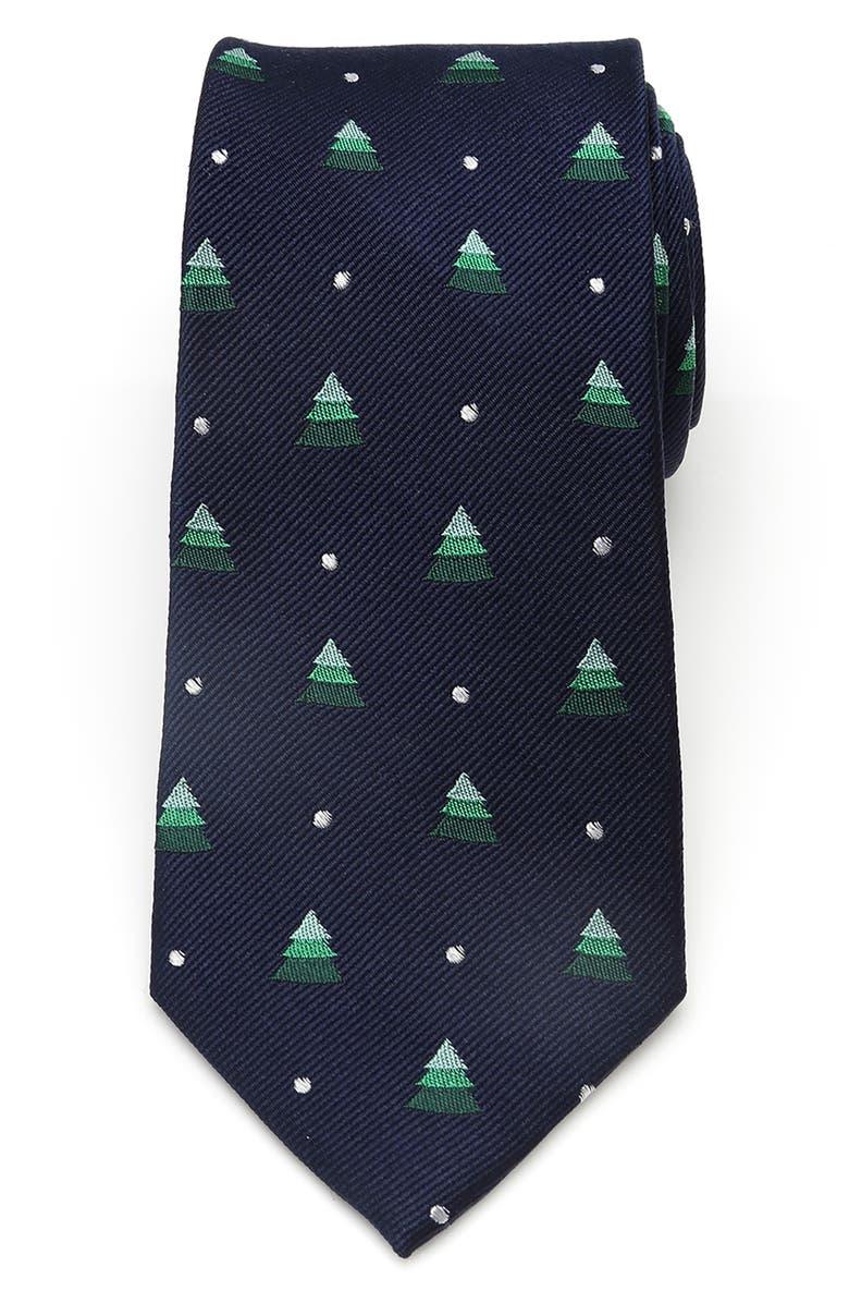CUFFLINKS, INC. Holiday Tree Silk Tie, Main, color, NAVY