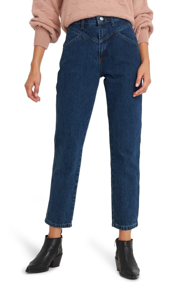 NA-KD Yoke Detail Straight Leg Jeans, Main, color, MID BLUE