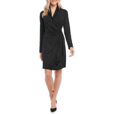 Karen Kane Sparkle Knit Long Sleeve Faux Wrap Dress, Black