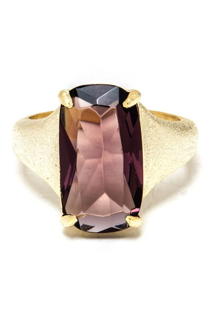 Image of Rivka Friedman 18K Yellow Gold Clad Radiant-Cut Crystal Cocktail Ring