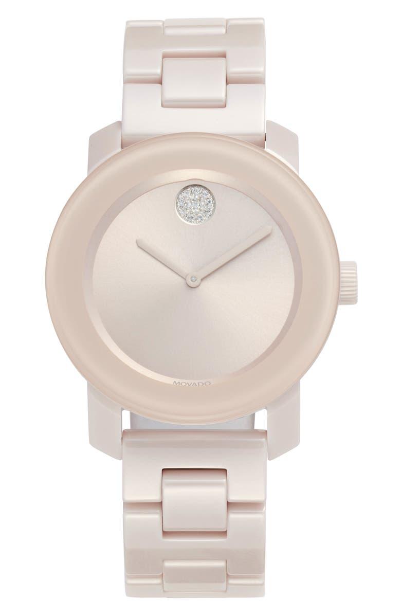 MOVADO Bold Ceramic Bracelet Watch, 36mm, Main, color, BLUSH PINK