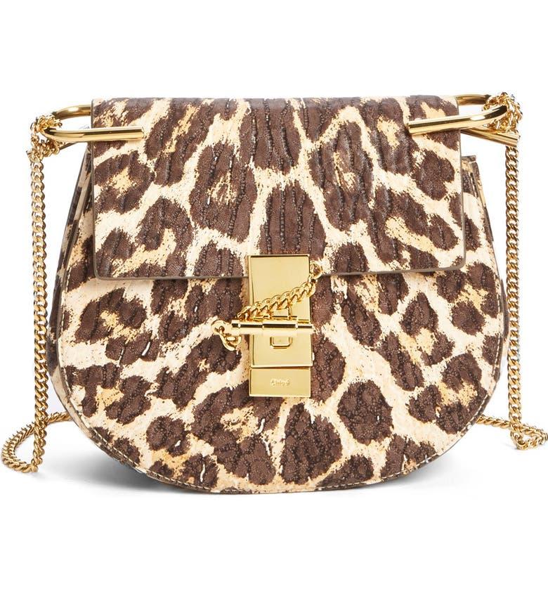 CHLOÉ 'Drew' Leopard Print Leather Shoulder Bag, Main, color, 200
