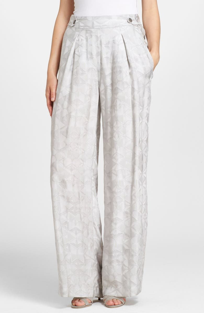 DONNA KARAN NEW YORK Wide Leg Mosaic Jacquard Pants, Main, color, 055