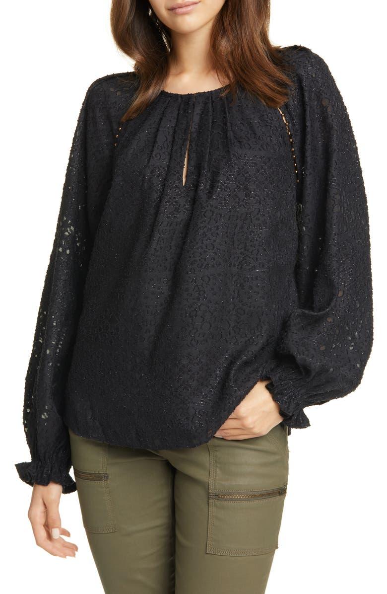 JOIE Adison B Metallic Jacquard Long Sleeve Blouse, Main, color, 001