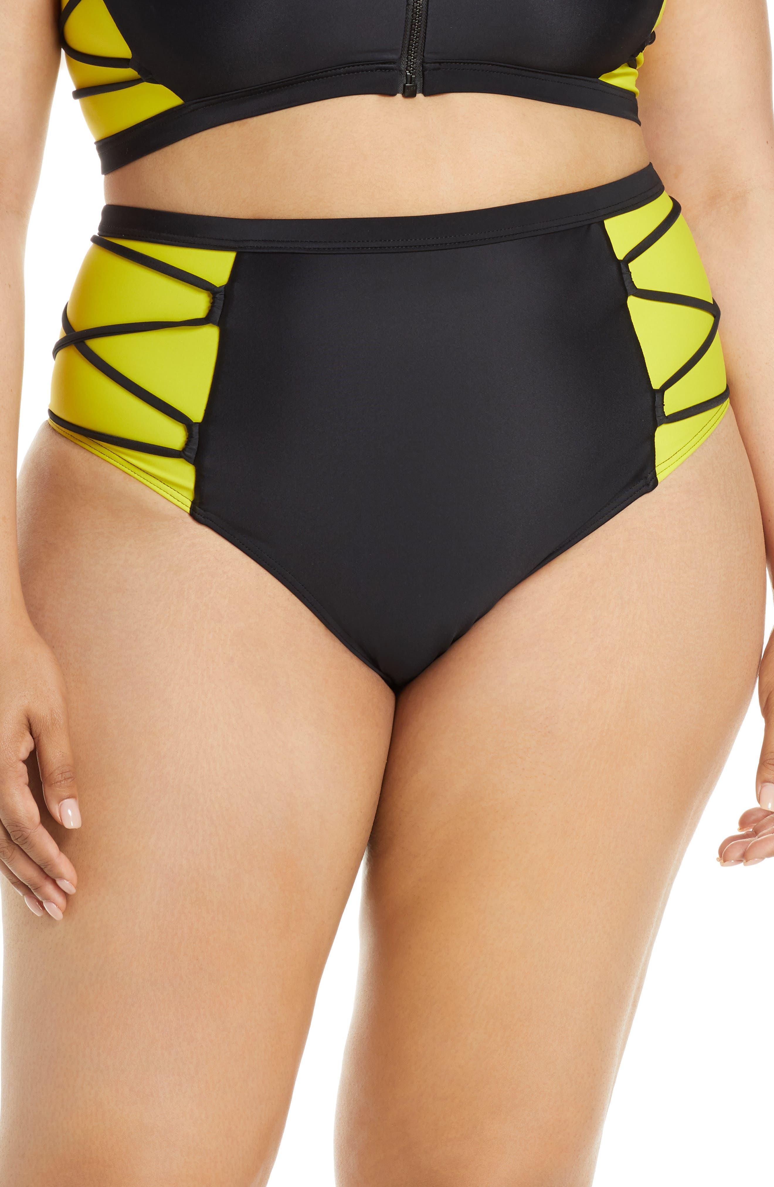 Plus Size Chromat Launch High Waist Bikini Bottoms, Black