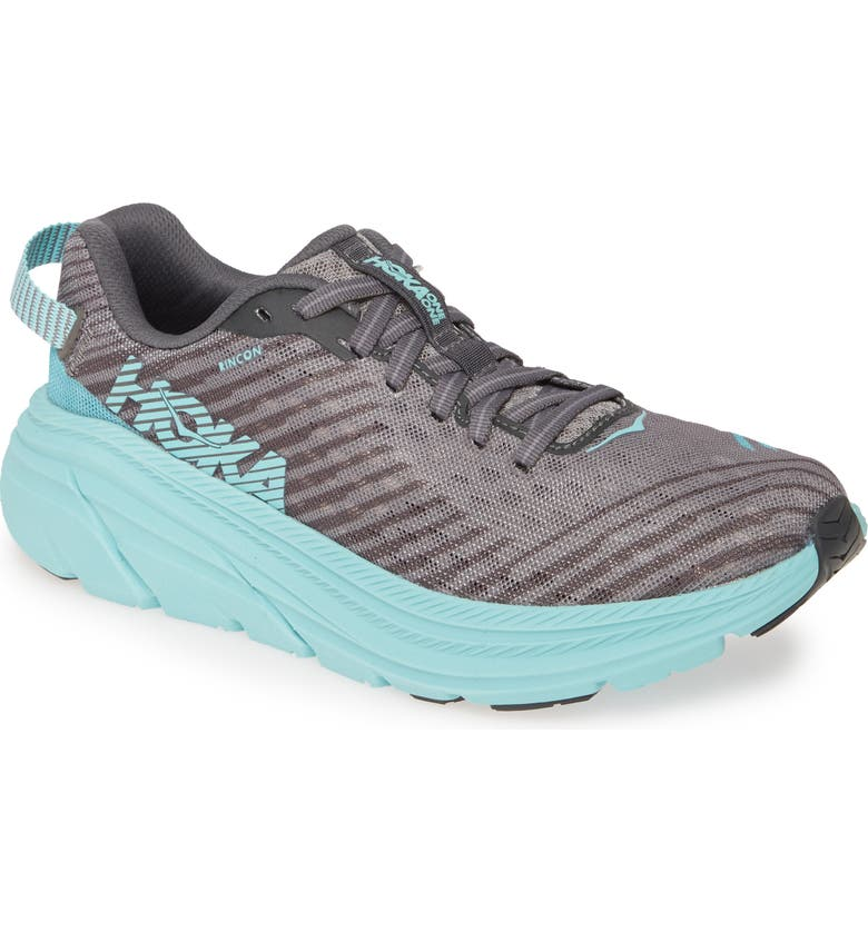HOKA ONE ONE Rincon Running Shoe, Main, color, CHARCOAL GRAY / AQUA SKY