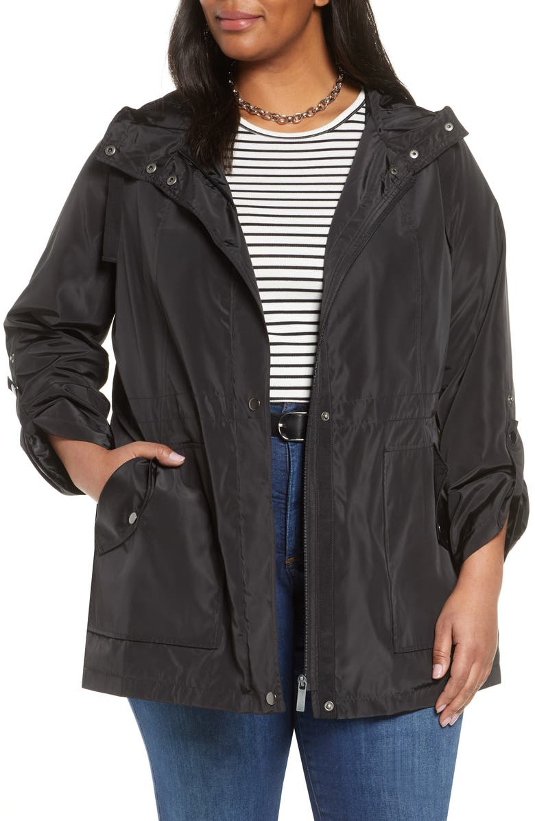 HALOGEN<SUP>®</SUP> Hooded Cinch Waist Rain Jacket, Main, color, BLACK