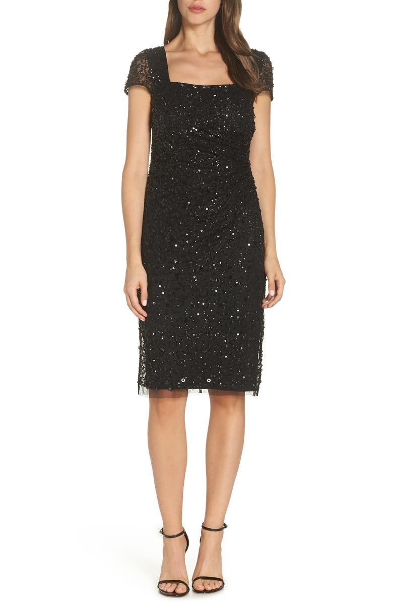 ADRIANNA PAPELL Beaded Dress, Main, color, 001