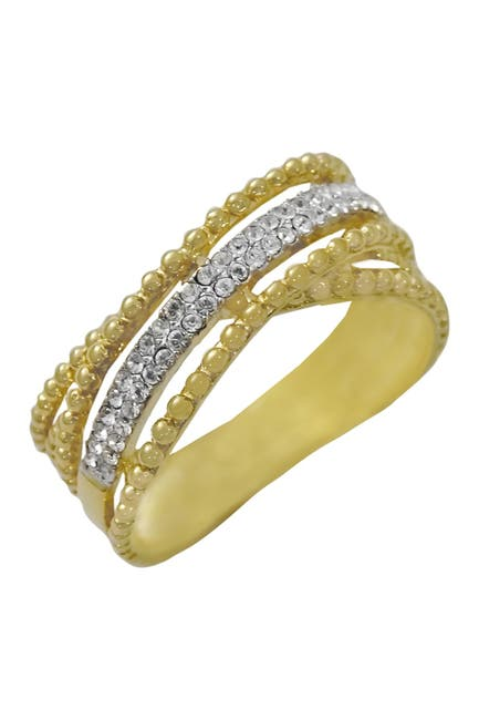 Image of Savvy Cie 14K Yellow Gold Plated Sterling Siver Pave Crystal Crossover Ring