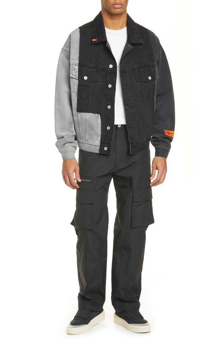 HERON PRESTON Patchwork Denim Jacket, Main, color, BLACK ORANGE