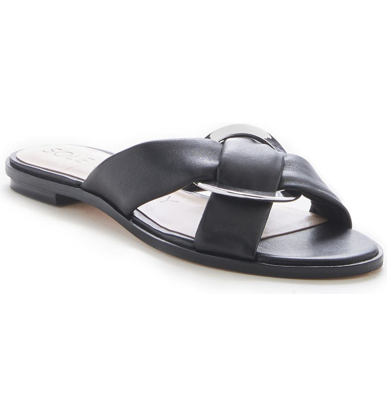 SOLE SOCIETY Sainne Slide Sandal, Main, color, BLACK LEATHER