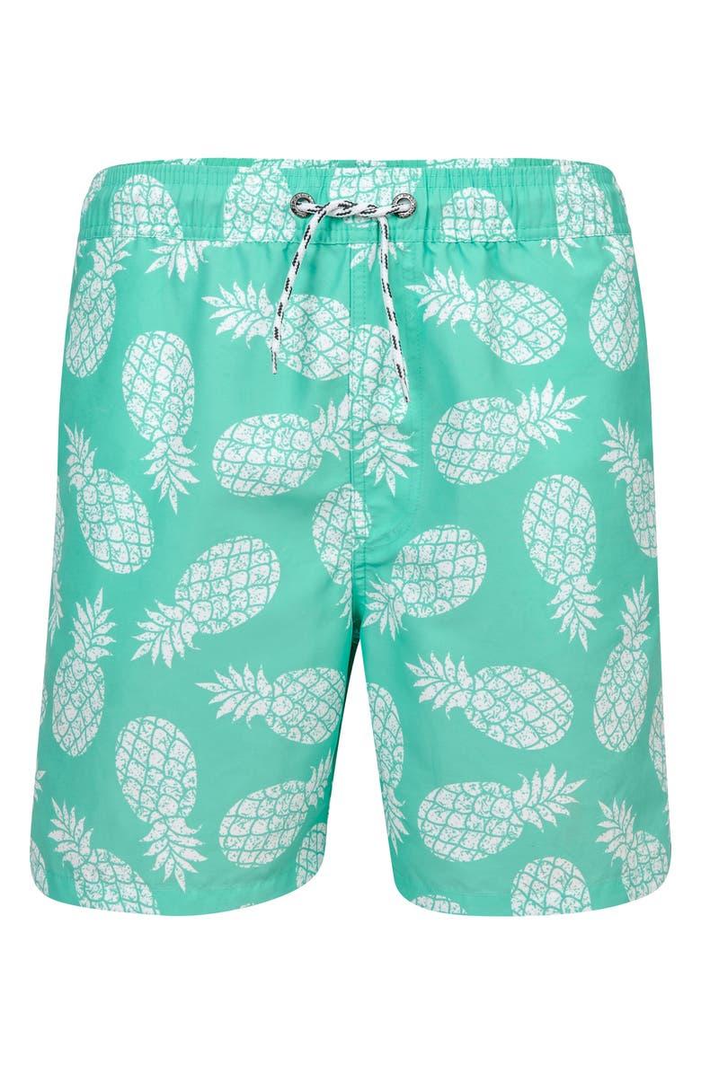 SNAPPER ROCK Pineapples Swim Trunks, Main, color, MINT/ WHITE