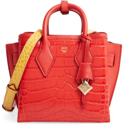 Mcm Neo Milla Embossed Leather Tote - Red