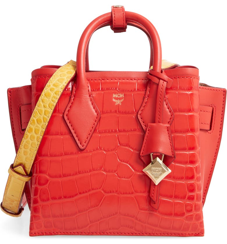 MCM Neo Milla Embossed Leather Tote, Main, color, RUBY RED