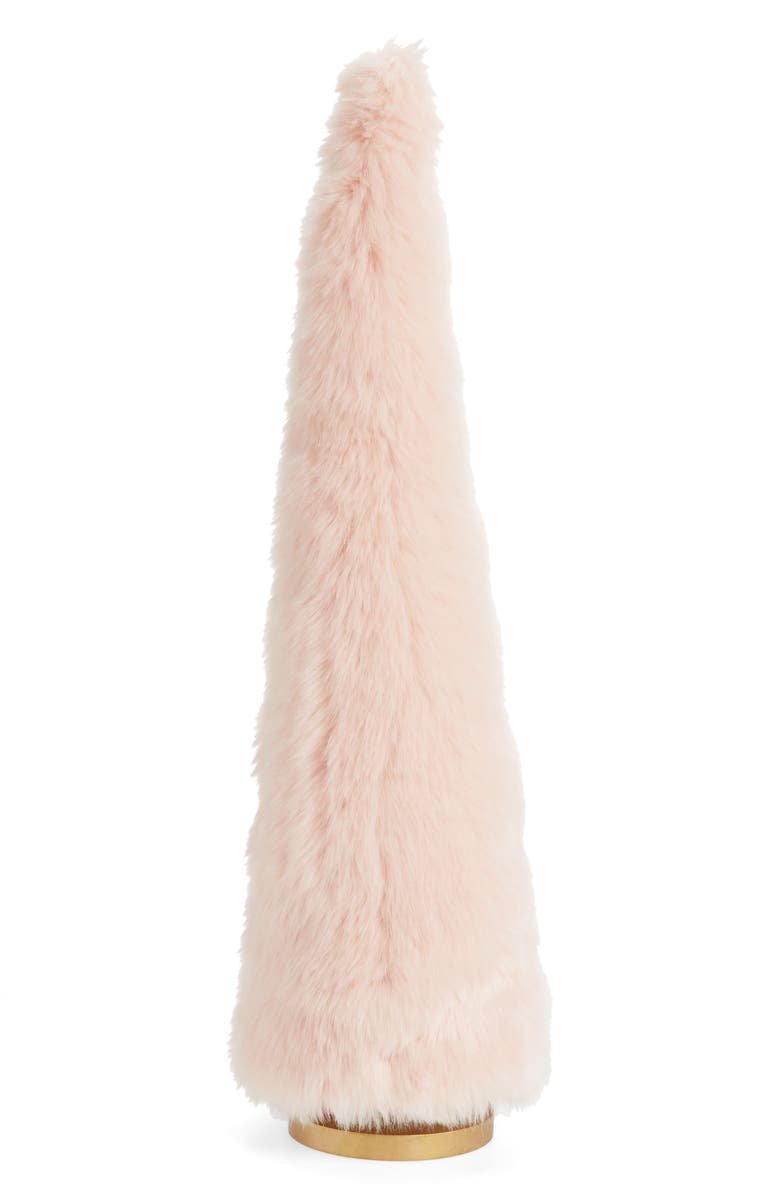 RACHEL PARCELL 24-Inch Frost Faux Fur Tree Decoration, Main, color, PINK PEONY BUD