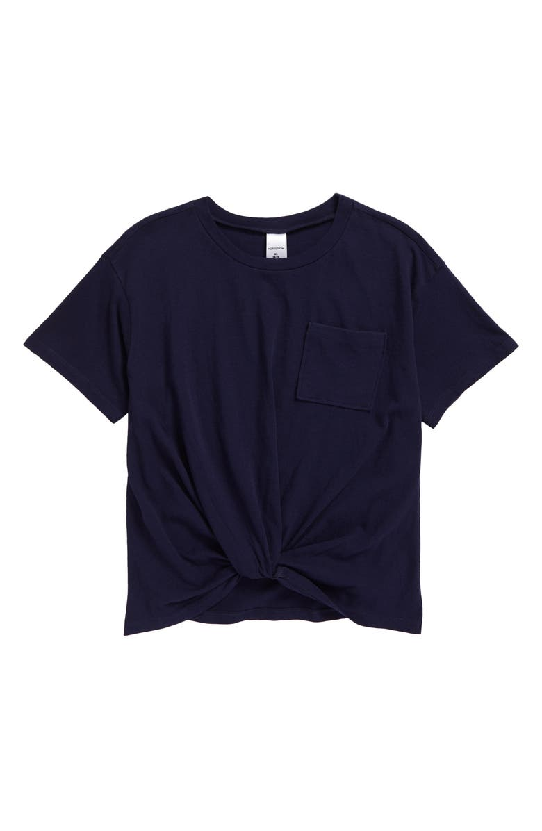 NORDSTROM Kids' Knot Front T-Shirt, Main, color, NAVY PEACOAT