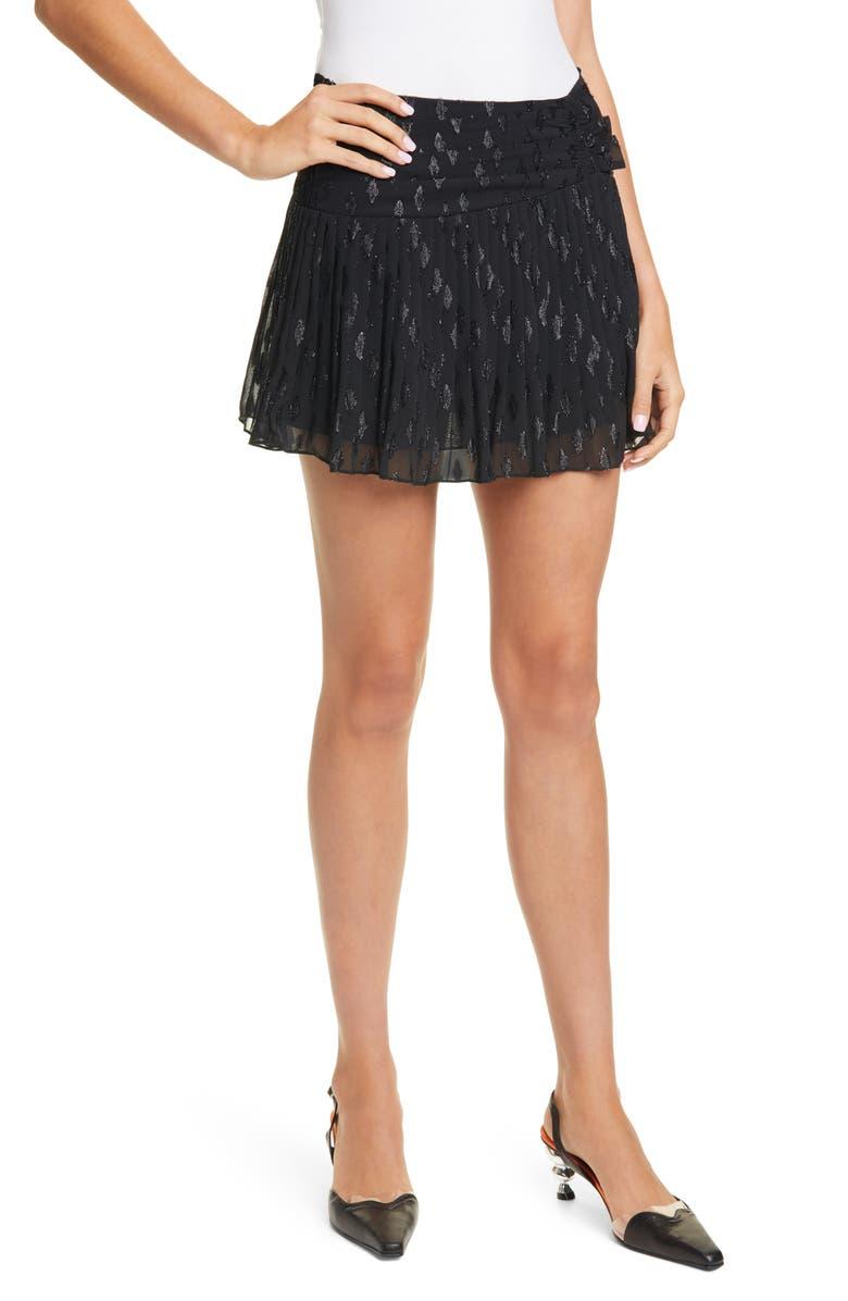 RAMY BROOK Jenny Pleated Miniskirt, Main, color, 001