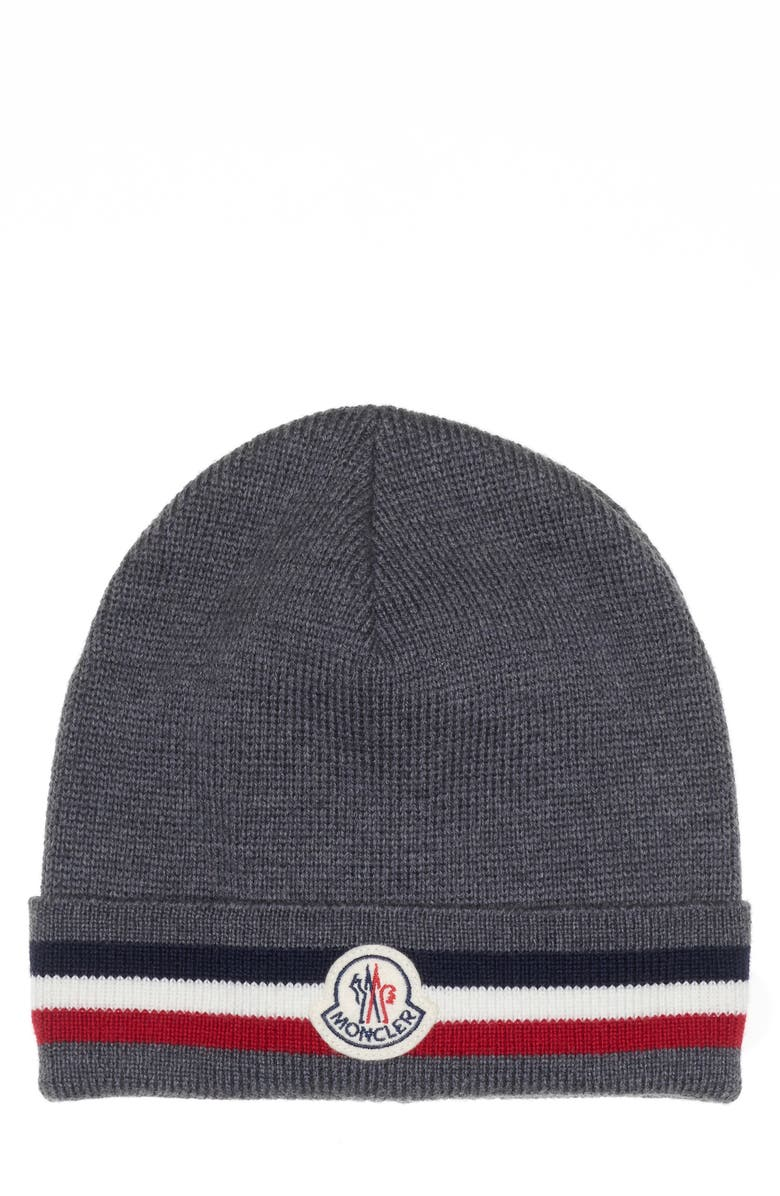MONCLER Stripe Virgin Wool Beanie, Main, color, CHARCOAL