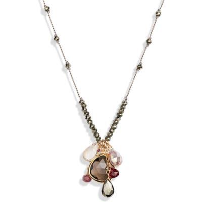 Ela Rae Long Semiprecious Stone Pendant Necklace