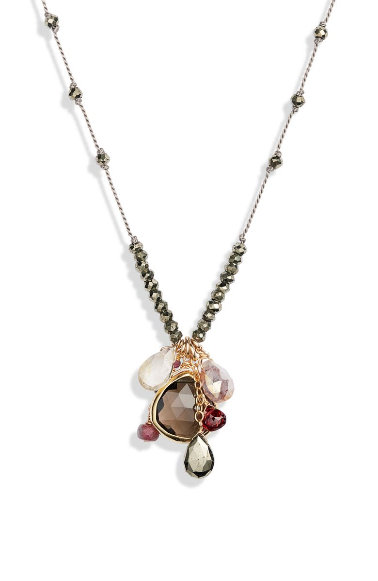 ELA RAE Long Semiprecious Stone Pendant Necklace, Main, color, BROWN
