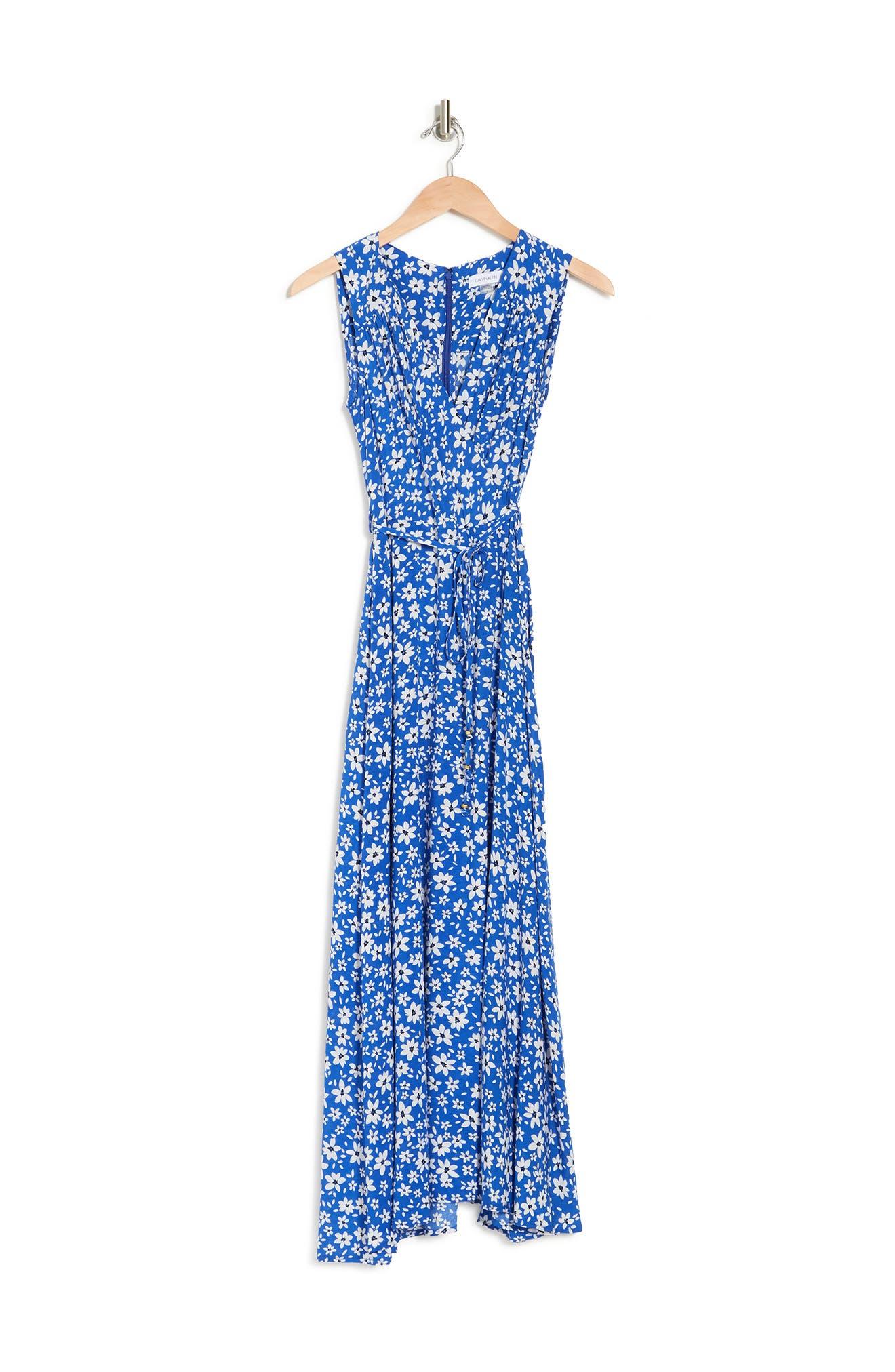 Calvin Klein DITSY FLORAL FAUX WRAP DRESS