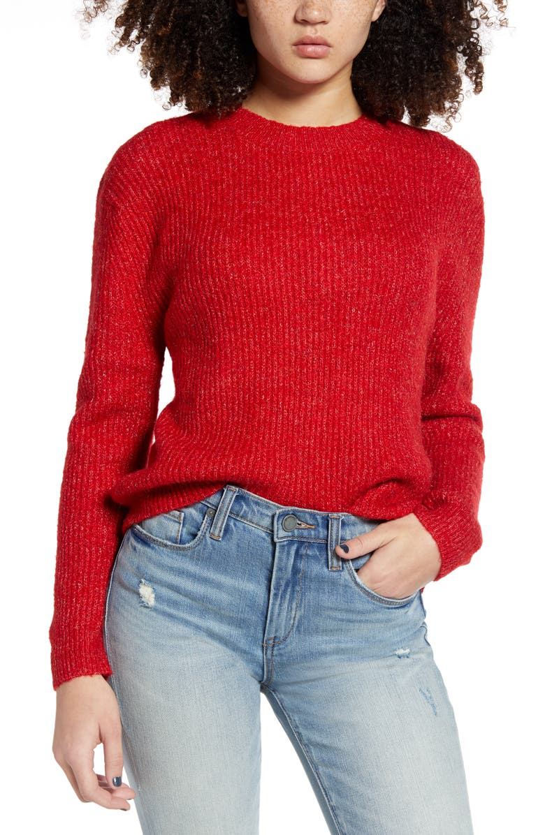 BP. Marl Pullover Sweater, Main, color, RED TANGO - POLY RAINBOW