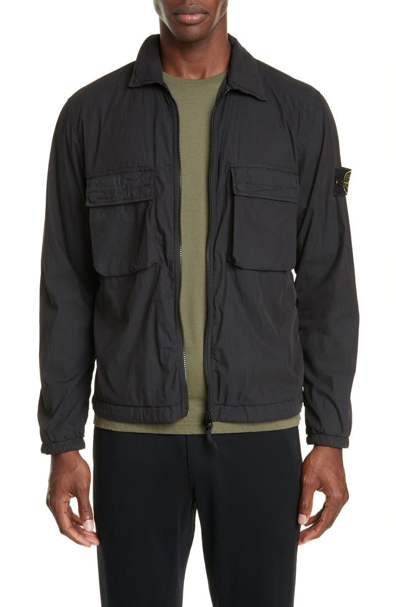 STONE ISLAND Two-Pocket Shirt Jacket, Main, color, BLACK
