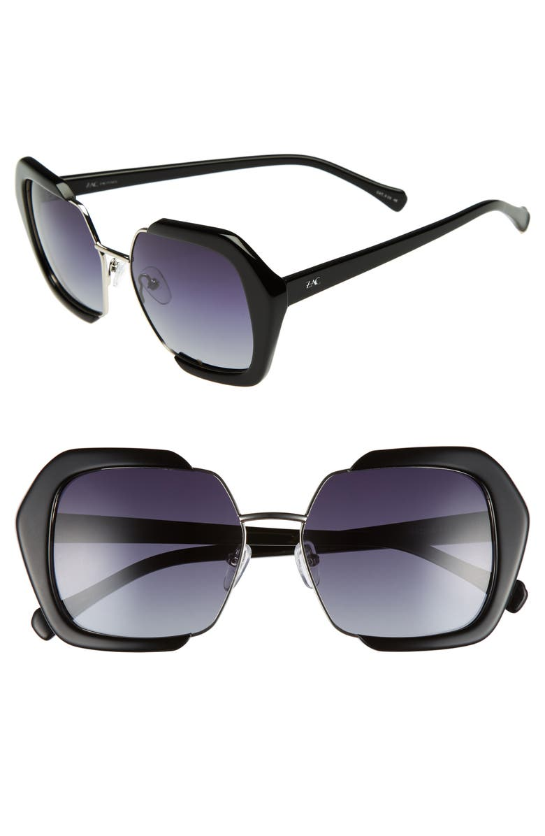 ZAC ZAC POSEN Isleen 55mm Polarized Sunglasses, Main, color, 001