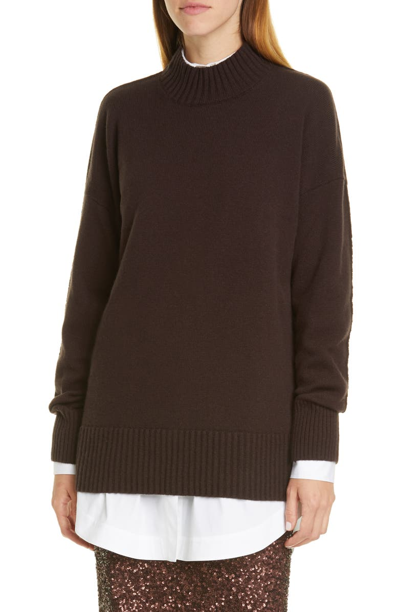 LAFAYETTE 148 NEW YORK Mock Neck Cashmere Sweater, Main, color, TRUFFLE