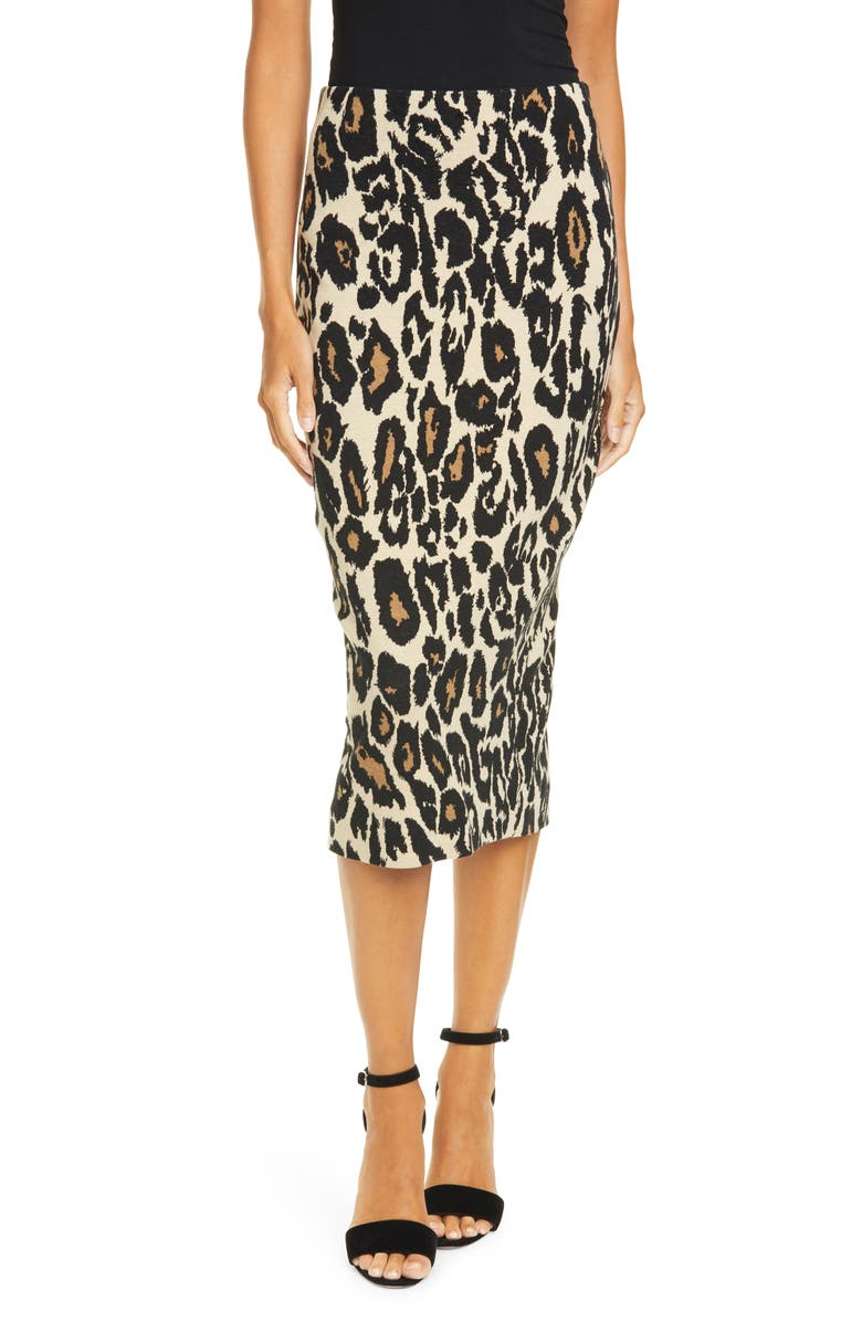 DVF Kara Animal Print Midi Pencil Skirt, Main, color, NATURAL/BLACK