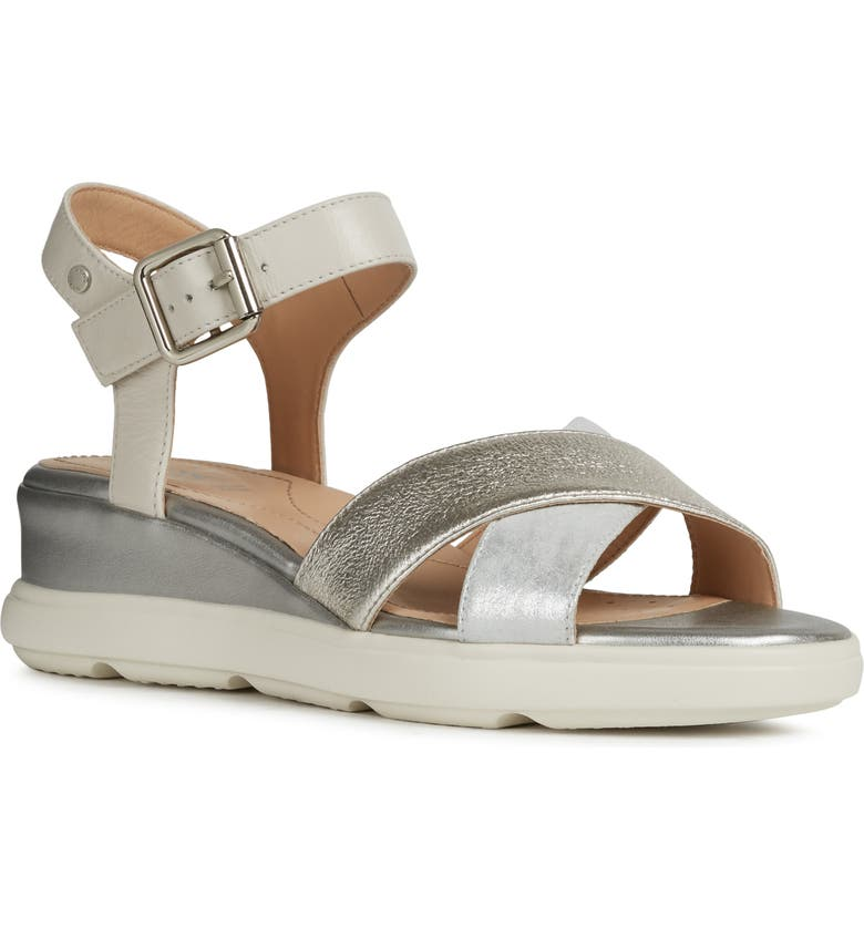 GEOX Pisa Wedge Sandal, Main, color, SILVER/ OFF WHITE LEATHER