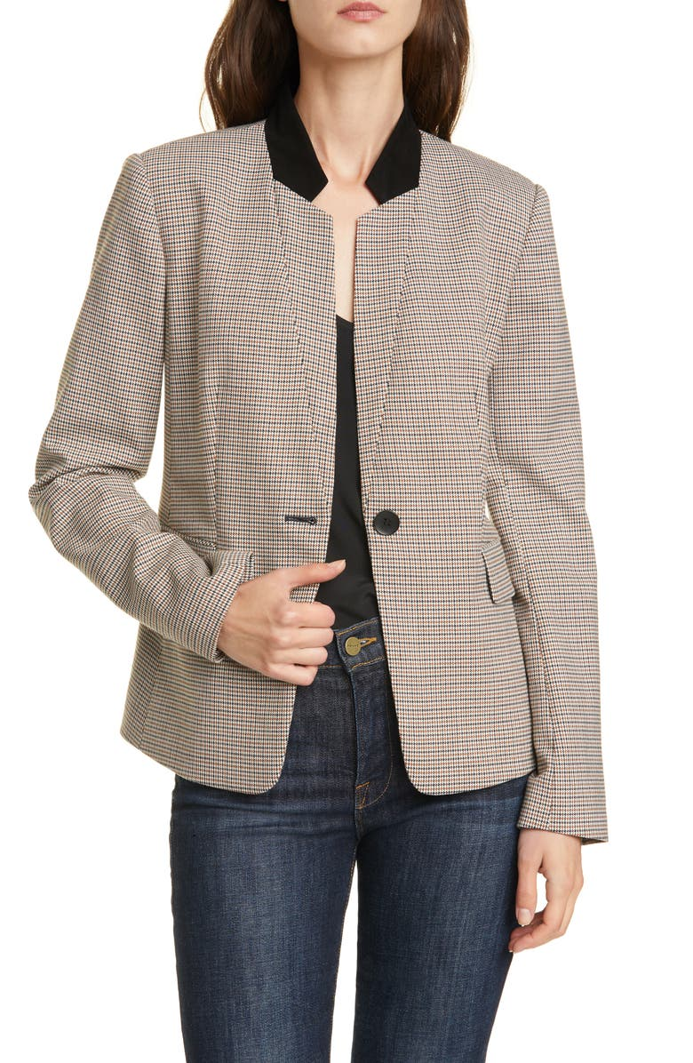 NORDSTROM SIGNATURE Suede Collar Jacket, Main, color, IVORY MINI HOUNDSTOOTH