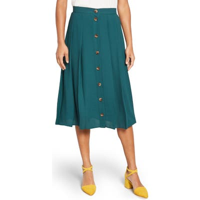 Modcloth Button-Front Pleated Midi Skirt, (similar to 2-2) - Green