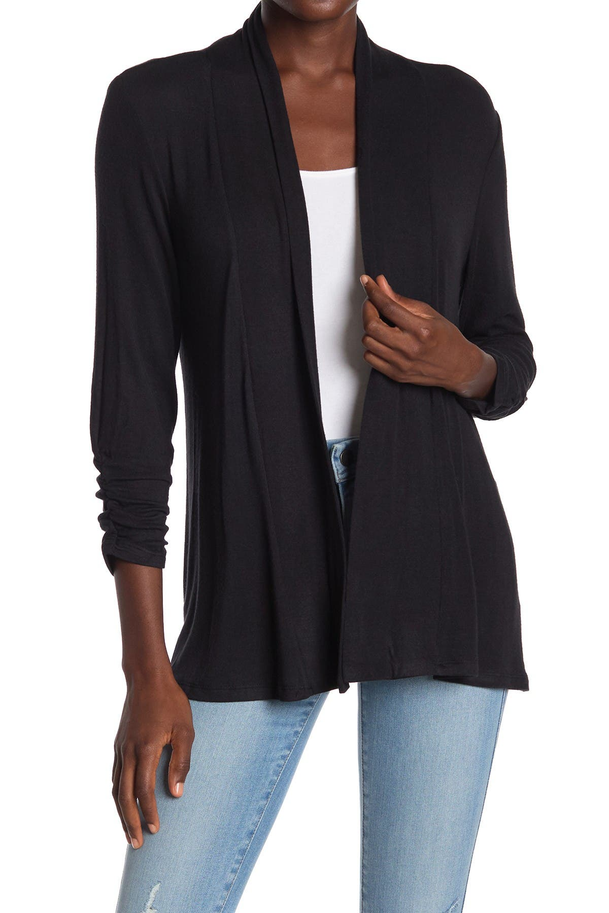 Image of Bobeau Cinched Sleeve Cardigan