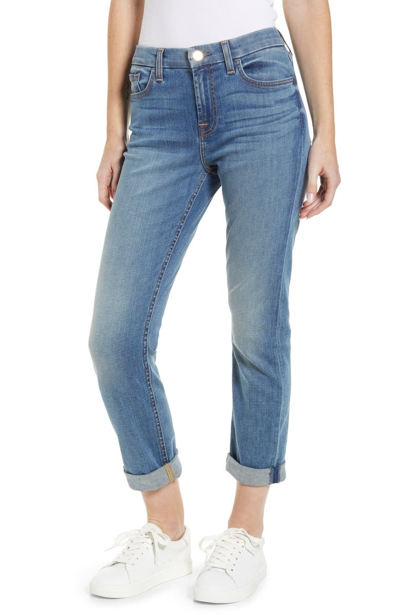 JEN7 BY 7 FOR ALL MANKIND High Waist Crop Straight Leg Jeans, Main, color, 400