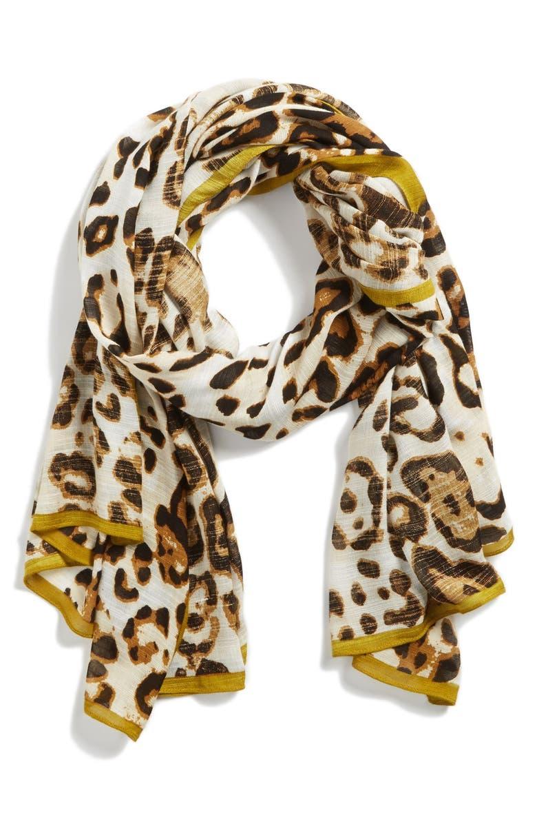 VINCE CAMUTO 'Leopard Love' Scarf, Main, color, 200