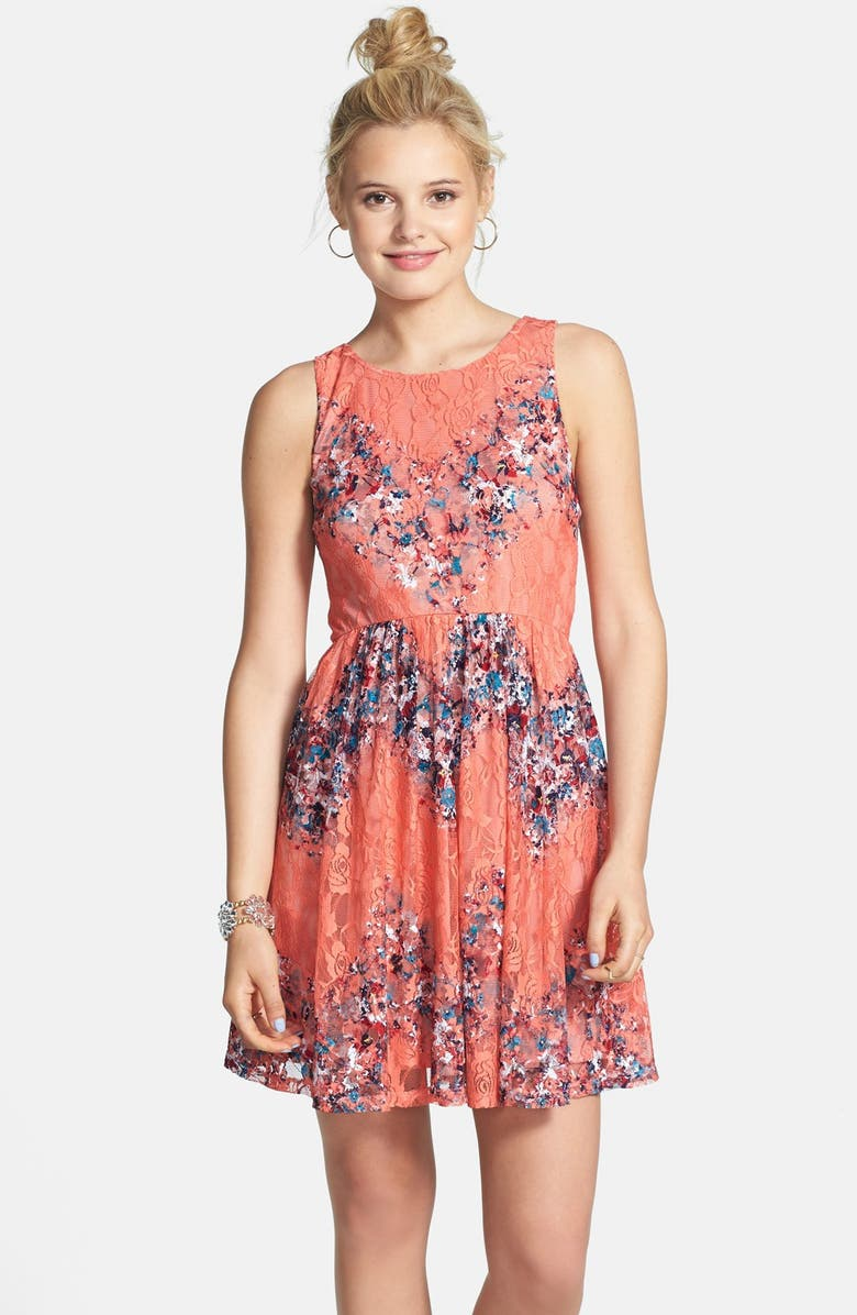 LOVE, FIRE Fire Stretch Lace Skater Dress, Main, color, 440