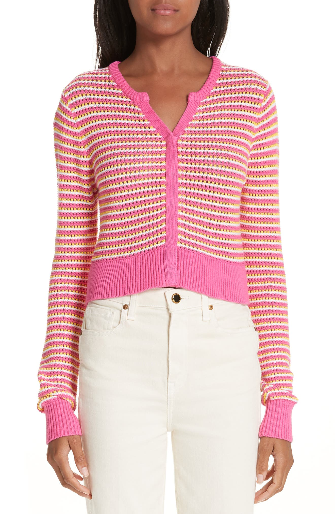 ,                             Stripe Cotton & Cashmere Button Cardigan,                             Main thumbnail 1, color,                             WHITE PINK COMBO