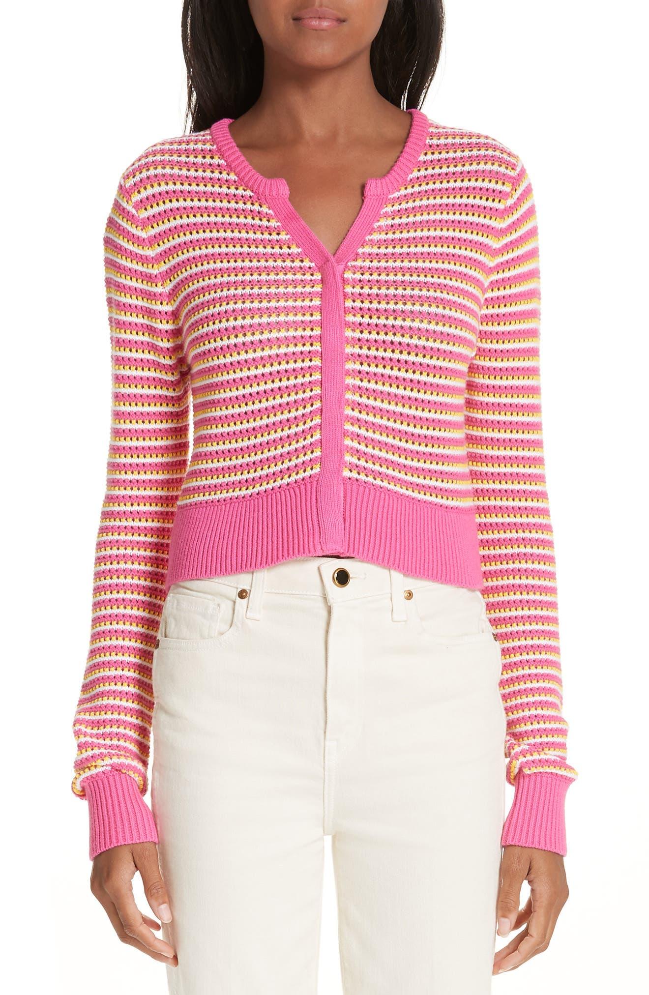 Stripe Cotton & Cashmere Button Cardigan, Main, color, WHITE PINK COMBO