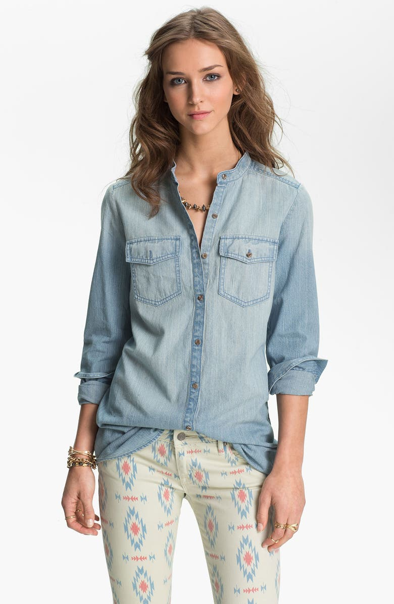 RUBBISH<SUP>®</SUP> Banded Collar Chambray Shirt, Main, color, 400
