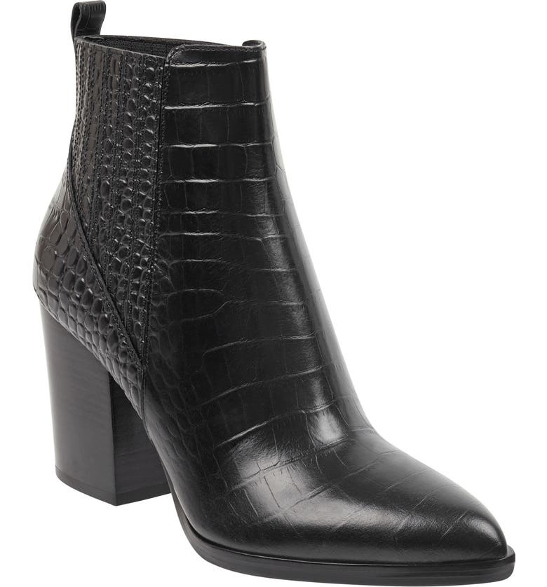 MARC FISHER LTD Alva Bootie, Main, color, BLACK EMBOSSED LEATHER