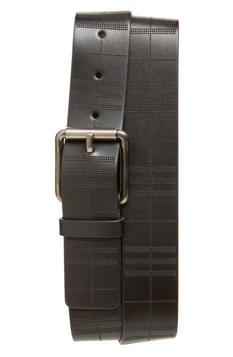 BURBERRY Embossed Check Leather Belt, Main, color, 001