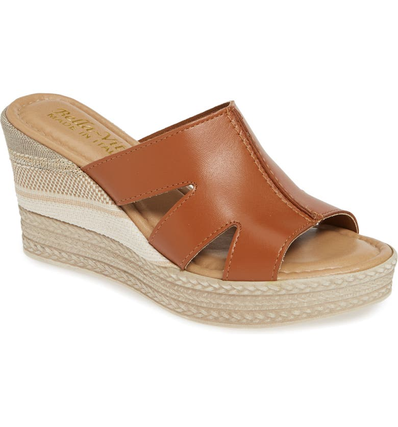 BELLA VITA Rox Wedge Slide Sandal, Main, color, WHISKEY ITALIAN LEATHER