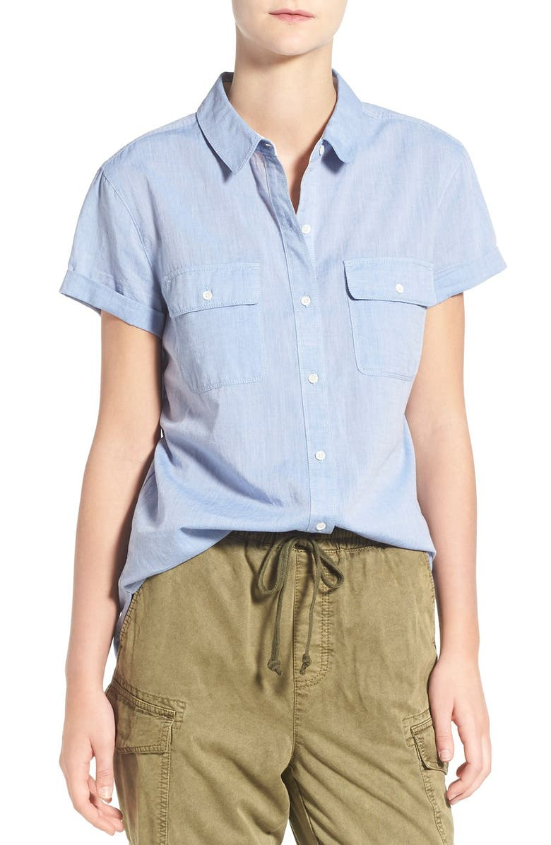 TREASURE & BOND Treasure&Bond Rolled Short Sleeve Boyfriend Shirt, Main, color, 400