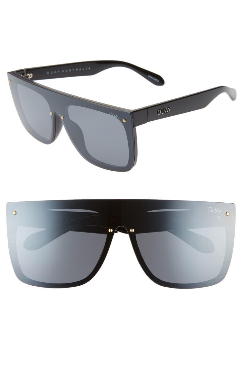 QUAY AUSTRALIA Jaded 150mm Flat Top Sunglasses, Main, color, BLACK/ SMOKE FLASH