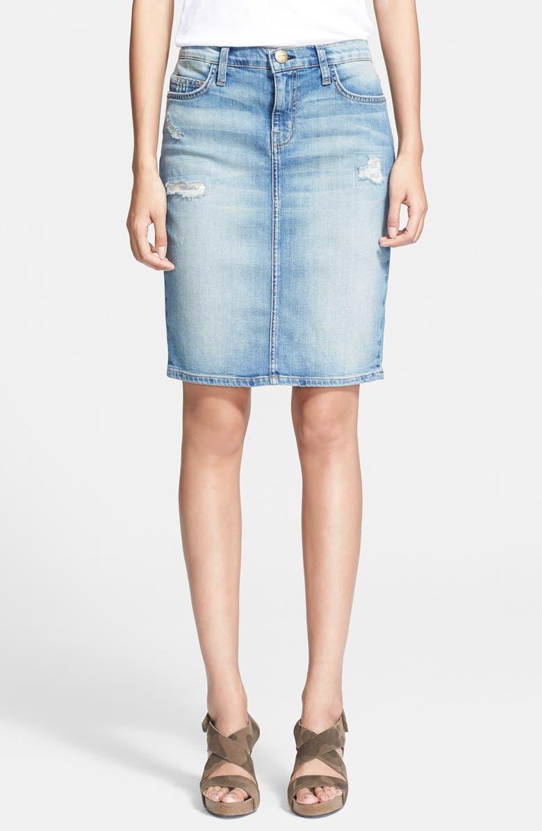 CURRENT/ELLIOTT 'The Stiletto' Denim Pencil Skirt, Main, color, 460