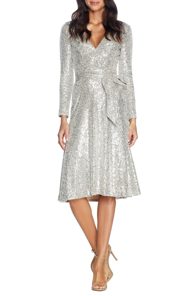 DRESS THE POPULATION Daphne Long Sleeve Sequin Cocktail Dress, Main, color, SILVER
